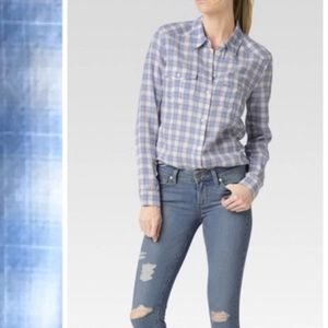 Paige Button Down Blue Flannel L